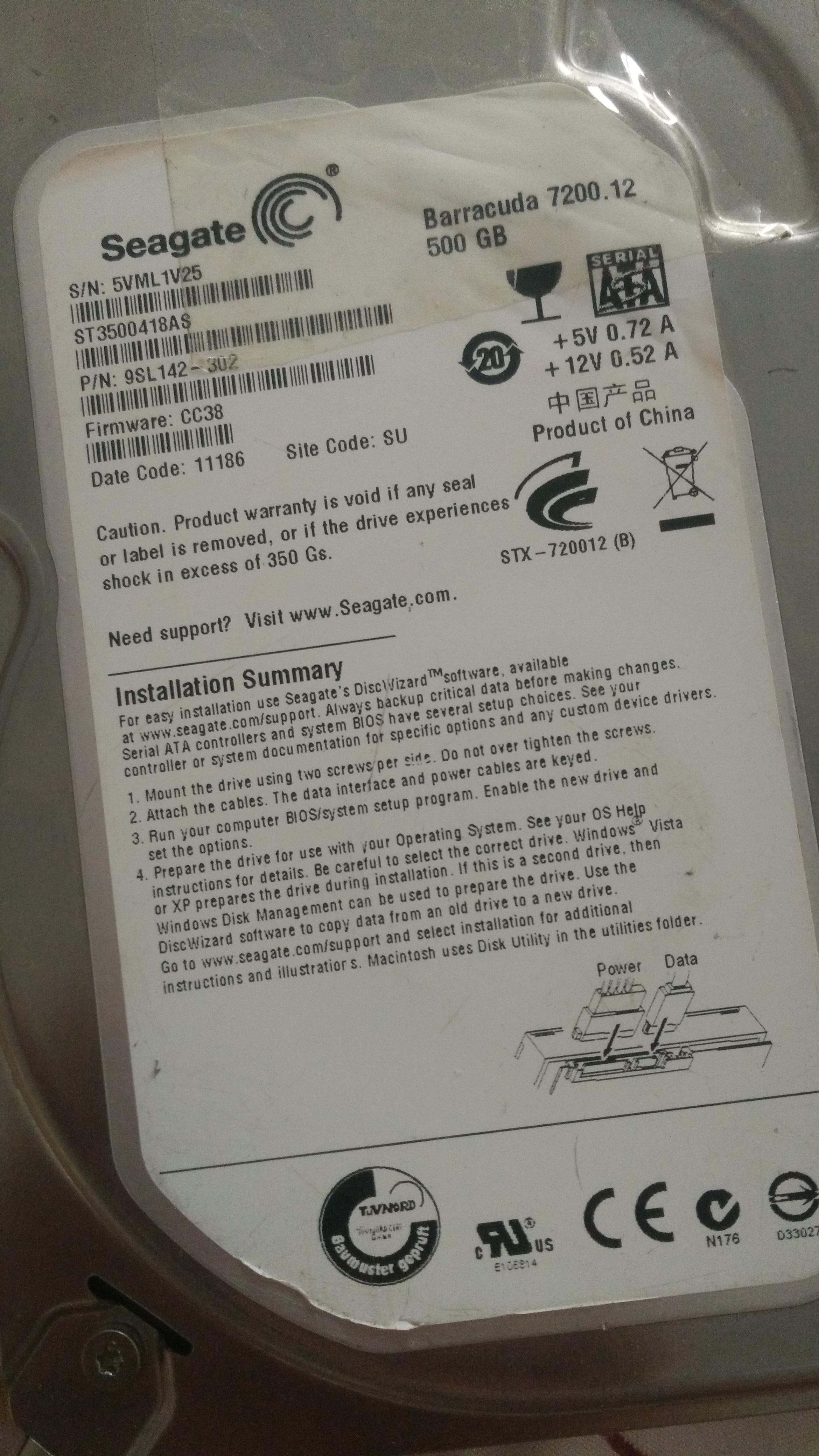 【Notes/经验】Seagate 7200.12 硬盘门故障修复过程简单记录